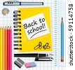 Back to school! School supplies vector illustration. - stock vector