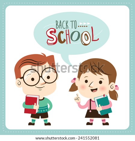 Back to school. Schoolboy and schoolgirl holding book. Vector illustration  - stock vector
