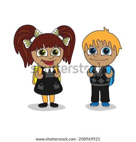 Back to school. Schoolboy and schoolgirl with satchels.  - stock vector