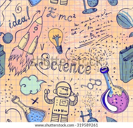 Back to School: science lab objects doodle vintage style sketches seamless pattern, vector illustration. Doodle lab equipment. Note book page paper.Biology geology alchemy chemistry. Tattoo elements.  - stock vector