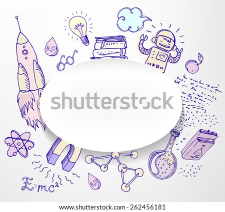 Back to School: science lab objects doodle vintage style sketchy frame, vector illustration isolated on white.  - stock vector
