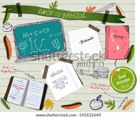 Back to school scrapbooking poster. Vector illustration EPS10 - stock vector