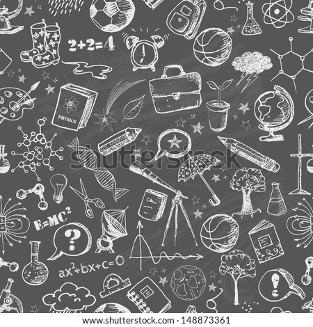 Back to school - seamless background on blackboard. Can be used for wallpaper, pattern fills, textile, web page background, surface textures. Vector illustration.  - stock vector