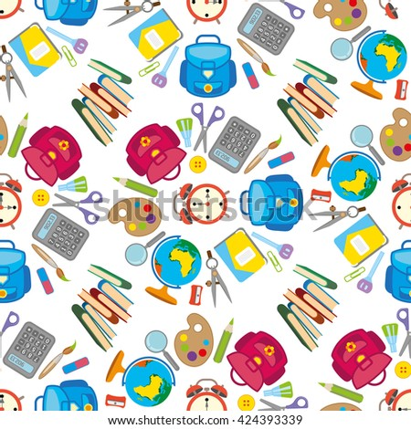 Back to school seamless background pattern. - stock vector