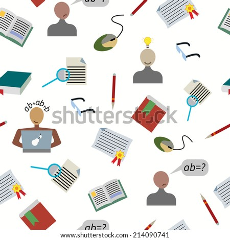 Back to school seamless pattern. Education icons set, isolated elements on white, vector illustration. - stock vector