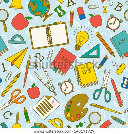 Back to school seamless pattern. Vector Illustration, eps10, contains transparencies. - stock vector