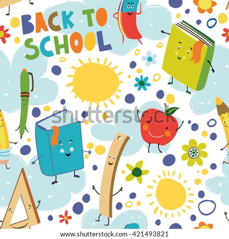Back to school. Seamless pattern with books, pens, pencils, apple, sun and clouds. - stock vector