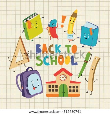 Back to school set. - stock vector