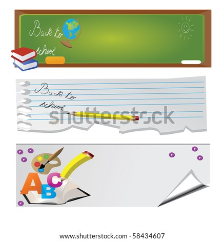 Back to school - set of banners - stock vector