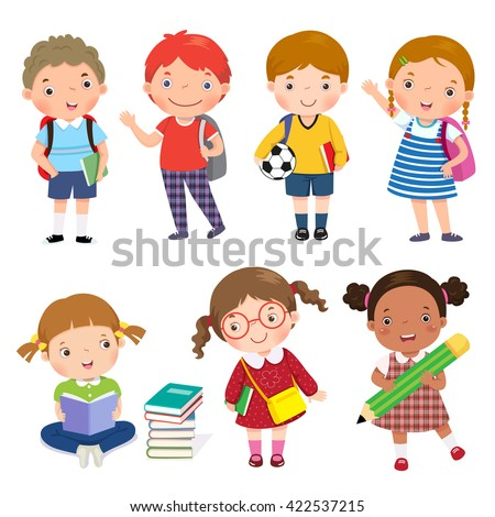Back to school. Set of school kids in education concept. - stock vector