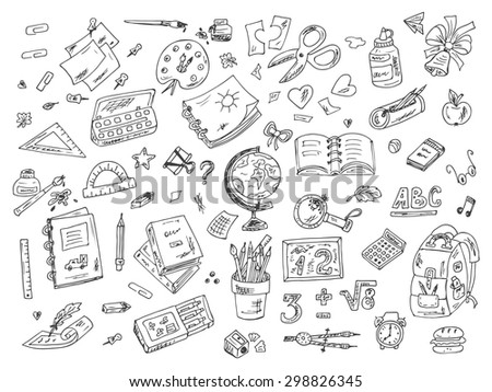Back to school. Set of school supplies. Hand Drawn Doodles illustration