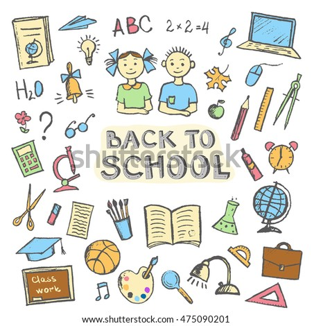 Back to school set of sign and symbol doodles elements. Vector illustration in a sketch style.
