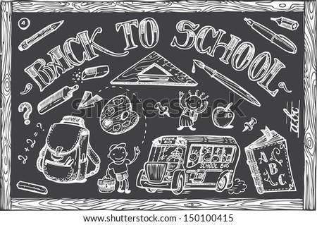 Back to School set of vector doodles - stock vector