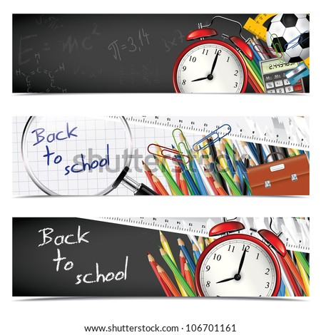 Back to school - set of vertical banners - stock vector