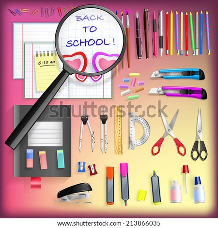 Back to School Set - vector background with office objects - stock vector