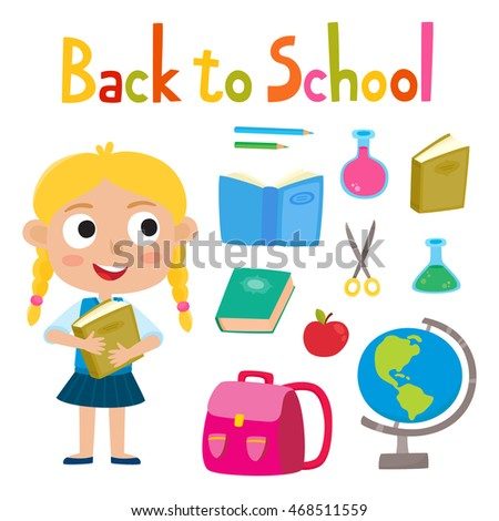 Back to school set with girl stand with book school supplies: backpack, pencils, book, globe, glasses, scissors isolated on white. Design elements for child books, stickers, posters, web pages.