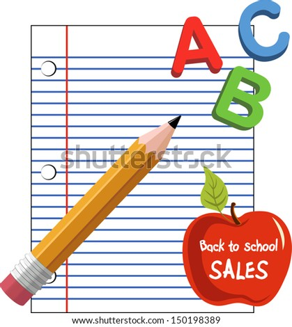 Back to school set 1 with loose leaf, apple, pencil and ABC letter. EPS 10 - stock vector