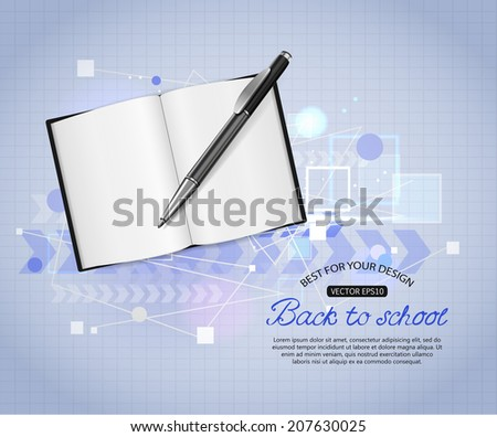 Back to school shining typographical background with realistic open book, pen and place for text. Vector illustration. - stock vector