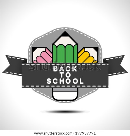 Back to School Sign with Pencil - stock vector
