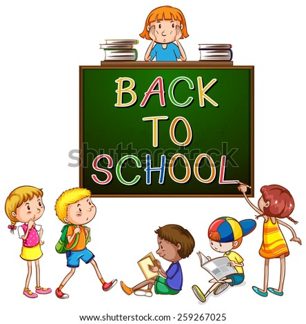 Back to school signboard on a white background - stock vector