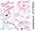 Back to school sketch - stock vector