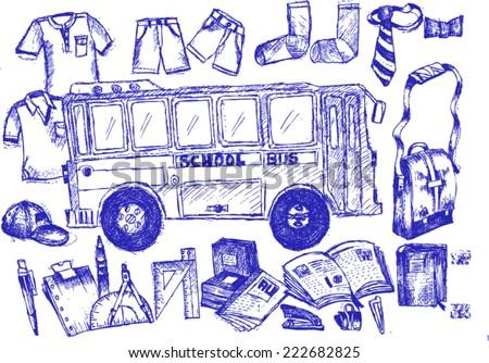 back to school, sketch - stock vector