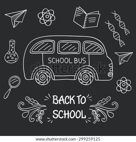 Back to School Sketchy Doodles Background on a chalkboard. Hand-Drawn Design Elements. Vector Illustration - stock vector