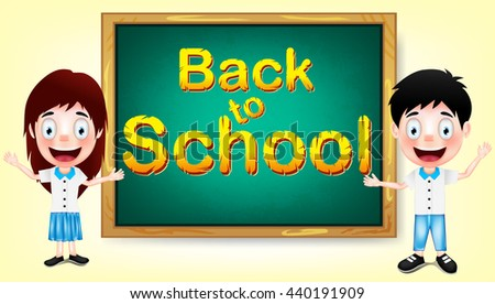 Back to School Smiling School Boy and Girl with Green Chalkboard. Vector Illustration  - stock vector