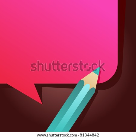 back to school - speech bubble with pencil icon - stock vector