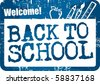 Back to school stamp blue - stock vector