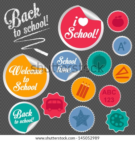 back to school stickers - stock vector