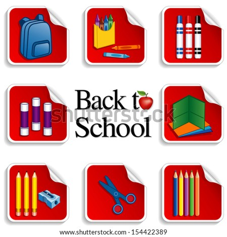 Back to School Stickers. Backpack, apple for the teacher, glue sticks, folders, colored pencils, sharpener; markers, crayons, scissors. For preschool, daycare, arts, crafts, literacy  projects. EPS8.