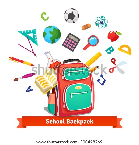 Back to school. Student backpack exploding with education objects. Flat style vector illustration isolated on white background. - stock vector
