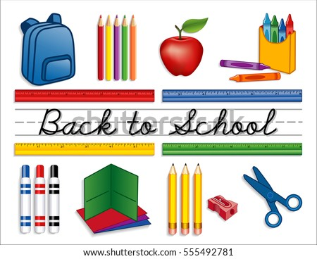 Back to School Supplies, backpack, crayons, pencils, sharpener, markers, folders, scissors, apple for the teacher, cursive script handwriting, penmanship lines, isolated on white. EPS8 compatible.