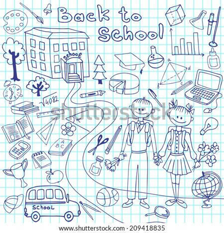 Back to School Supplies  Doodles with Lettering and Swirls- Hand-Drawn Vector Illustration Design Elements on Lined Sketchbook Paper Background - stock vector