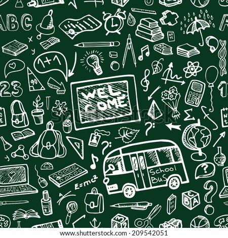 Back to School Supplies Sketchy chalkboard Doodles with  Swirls- Hand-Drawn. Seamless pattern.Vector Illustration Design Elements on chalkboard Background.Teachers day