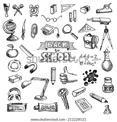 Back to School Supplies Sketchy Doodles with Lettering - stock vector