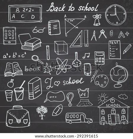 Back to School Supplies Sketchy Notebook Doodles set with Lettering, Hand-Drawn Vector Illustration Design Elements on Lined Sketchbook on chalkboard background. - stock vector