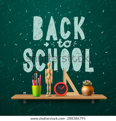 Back to school template with schools workspace supplies, vector illustration.  - stock vector