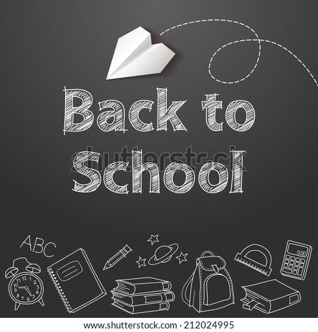 Back to school text end school vector doodle concept - stock vector