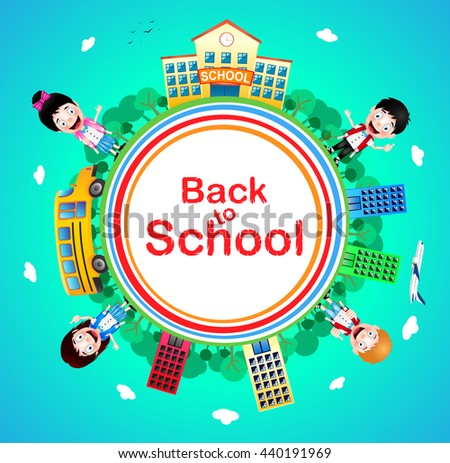 Back to School Text on a Circle with School Building and School Bus with Happy Kids Vector Characters on Blue Background. Vector Illustration   - stock vector