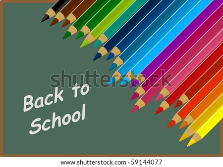 Back to school text on vector blackboard and colorful pencil - stock vector