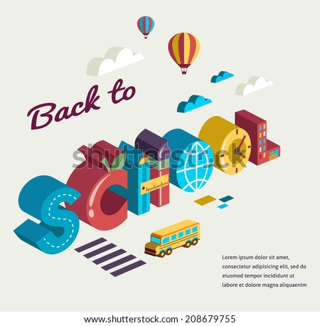 Back to school - text with icons. Vector concept - stock vector