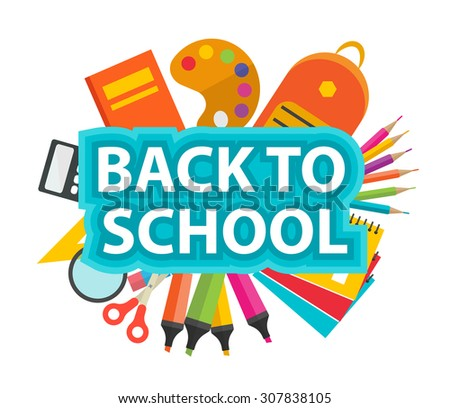 Back to school text with school supplies, vector illustration - stock vector