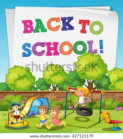 Back to school theme with children in playground illustration - stock vector
