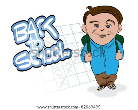 back to school theme with little boy - illustration - stock vector