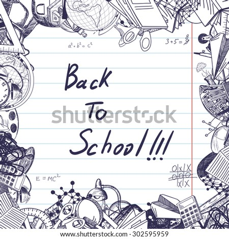 Back to school title with sketch drawing frame on lined paper. - stock vector