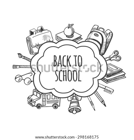 Back to school tools sketch frame vector design illustration. Background School. - stock vector