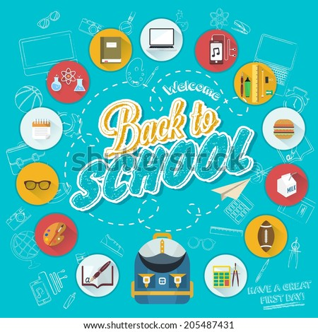 Back To School Typographical Background With Flat Icon Set, Vintage Ornaments, All for the beginning of the school, Concept of the high school object with teaching and learning symbol. vector set - stock vector