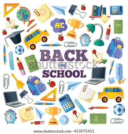 Back to School. vector background illustration of school elements. Picture with place for your text